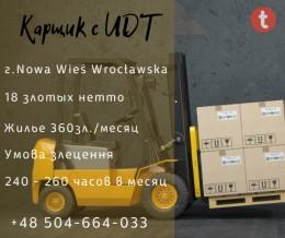 Водитель вилочного погрузчика с польским UDT